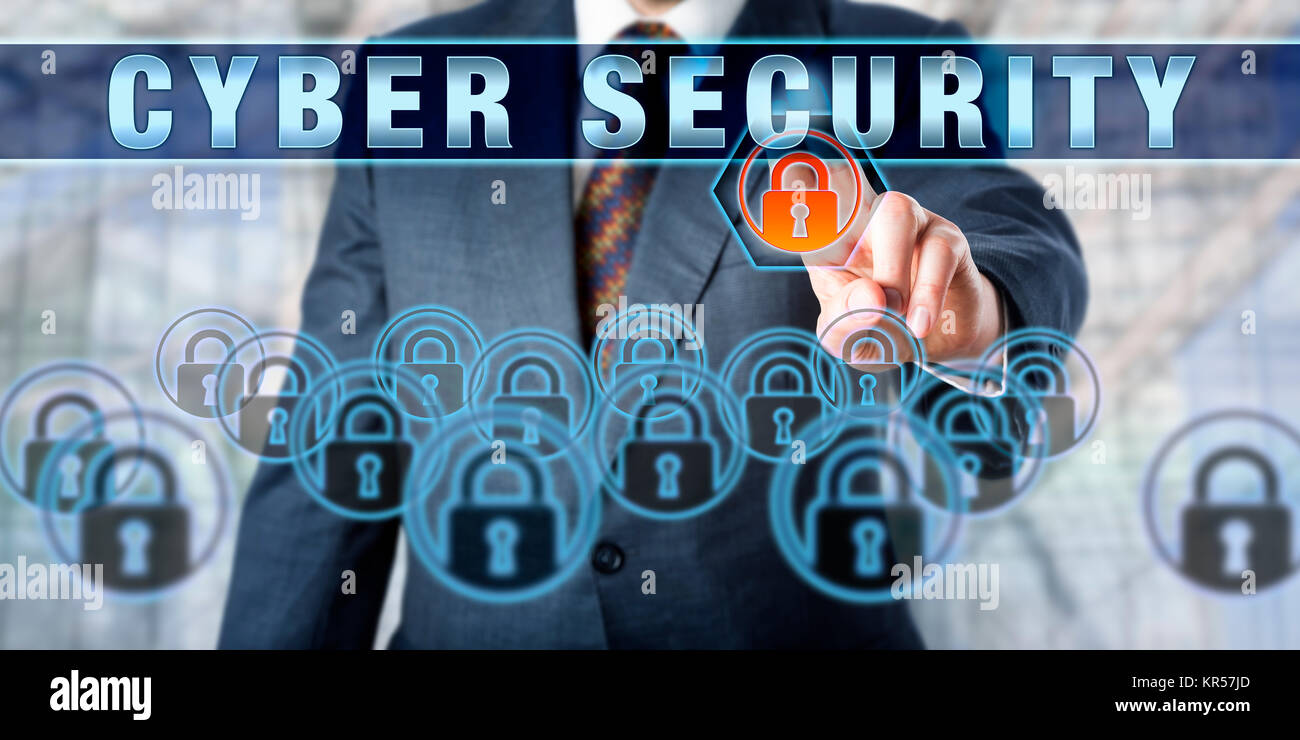 Enterprise Executive Pressing CYBER SECURITY - Stock Image
