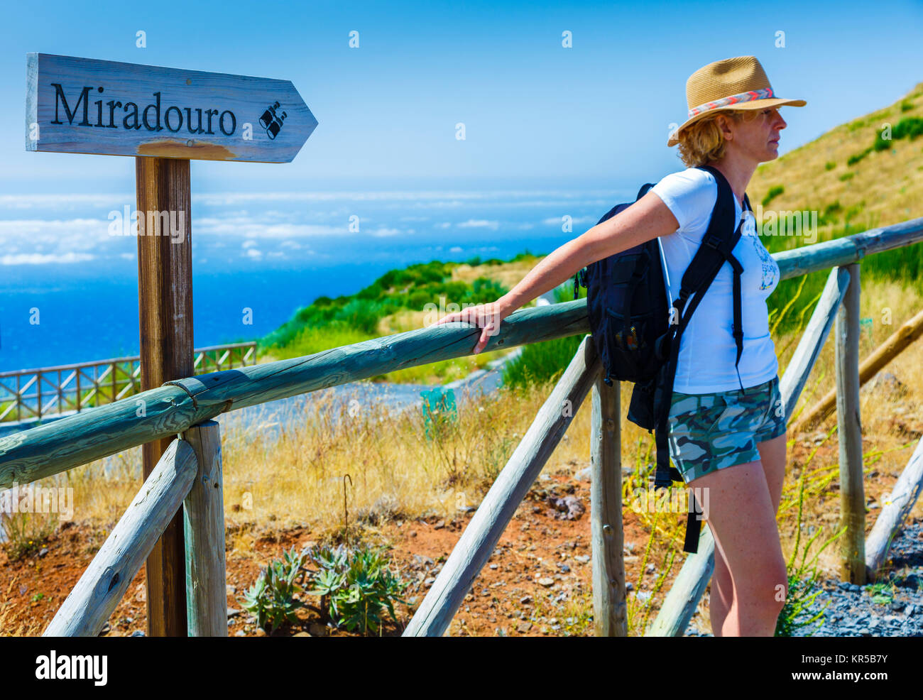 Woman and viewpoint. View from Paredao viewpoint. Madeira, Portugal, Europe. - Stock Image