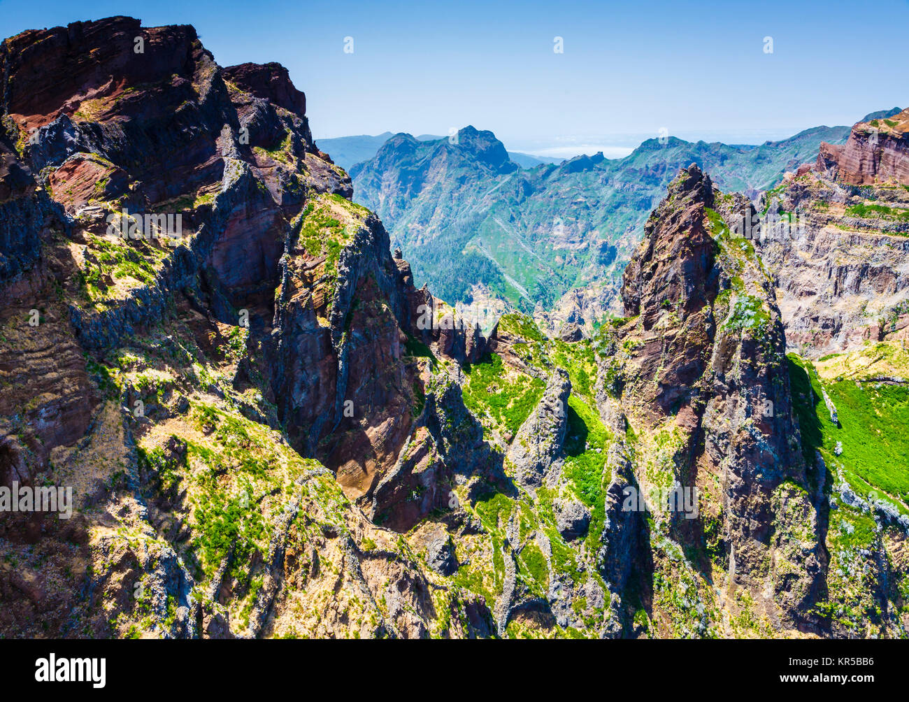 Mountain landscape. Pico do Arieiro area. Madeira, Portugal, Europe. - Stock Image