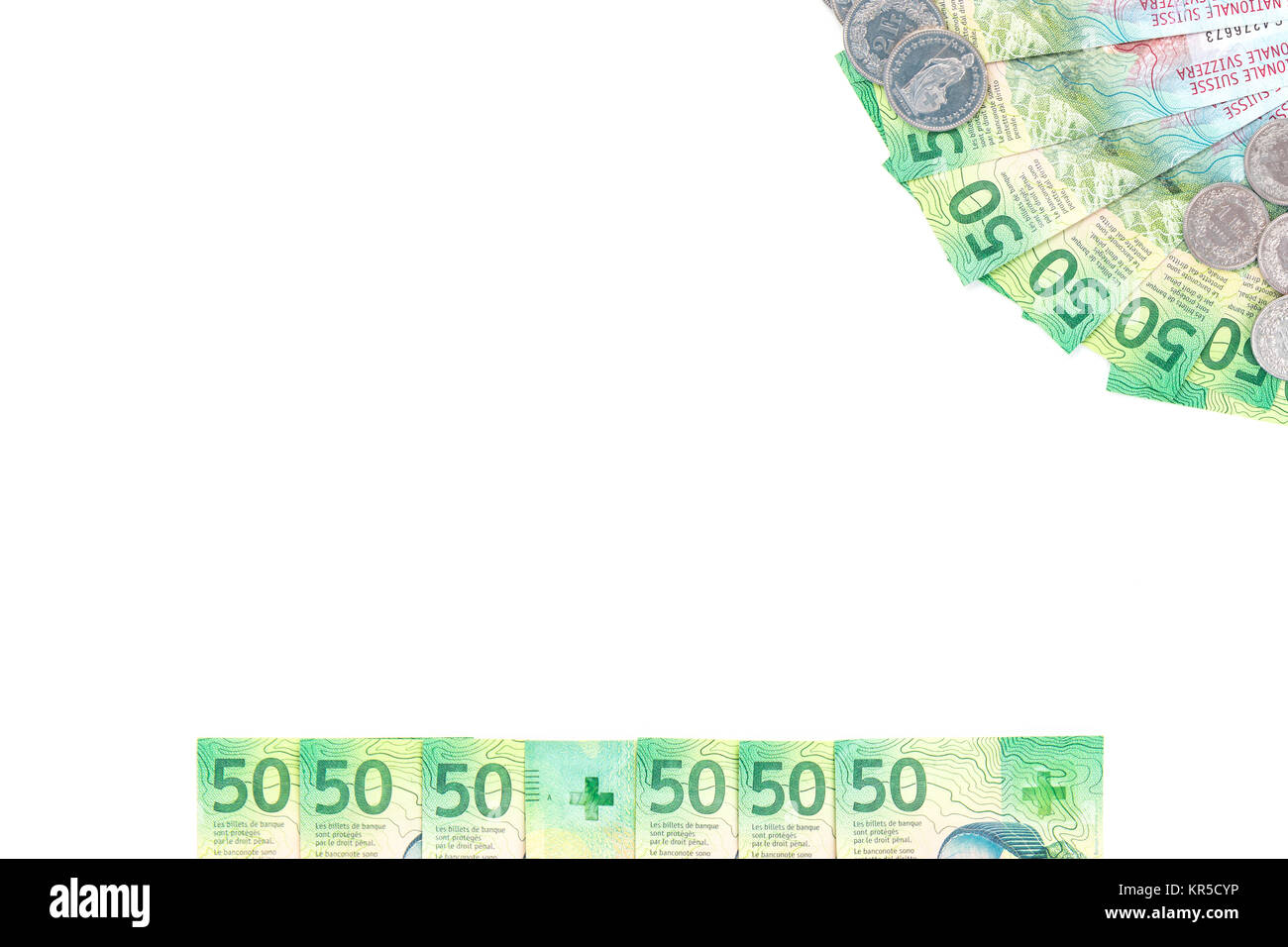 Swiss Franc money, new fifty banknotes. Text ready cover, background or wallpaper. - Stock Image