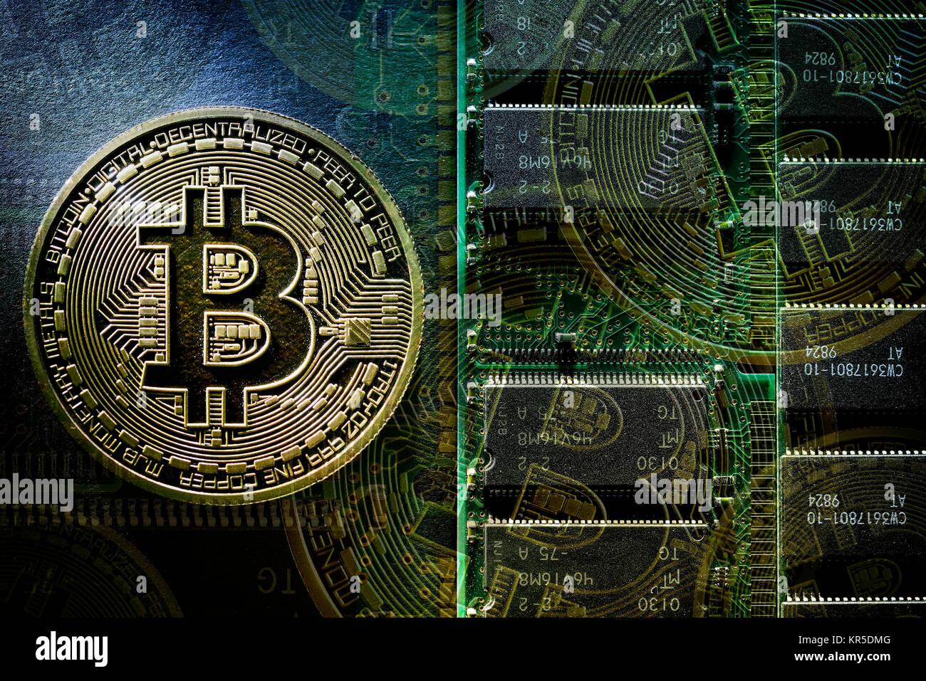 Coin with Bitcoin sign, Münze mit Bitcoin-Zeichen Stock Photo