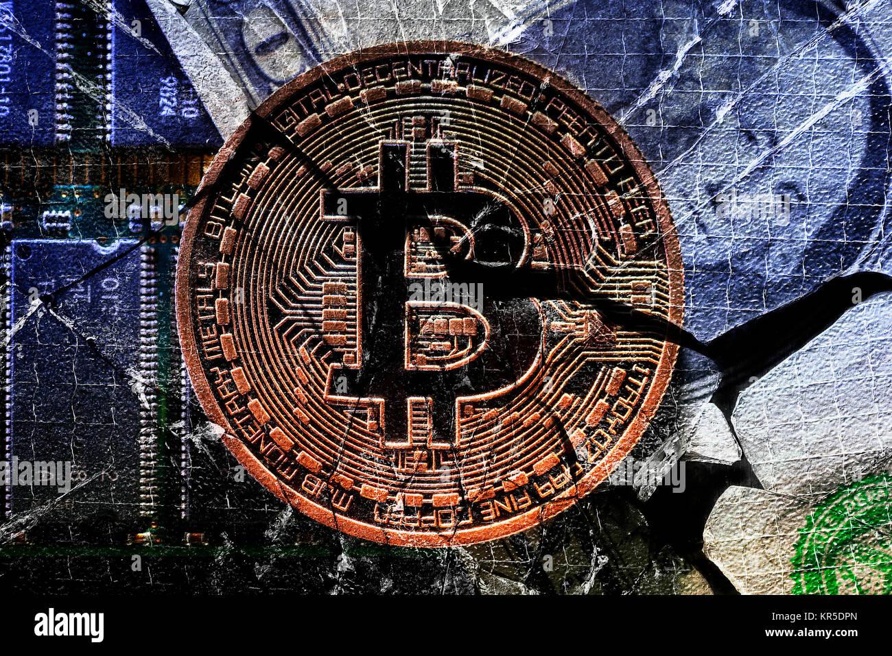 Coin with Bitcoin sign on broken glass, Münze mit Bitcoin-Zeichen auf zerbrochenem Glas Stock Photo
