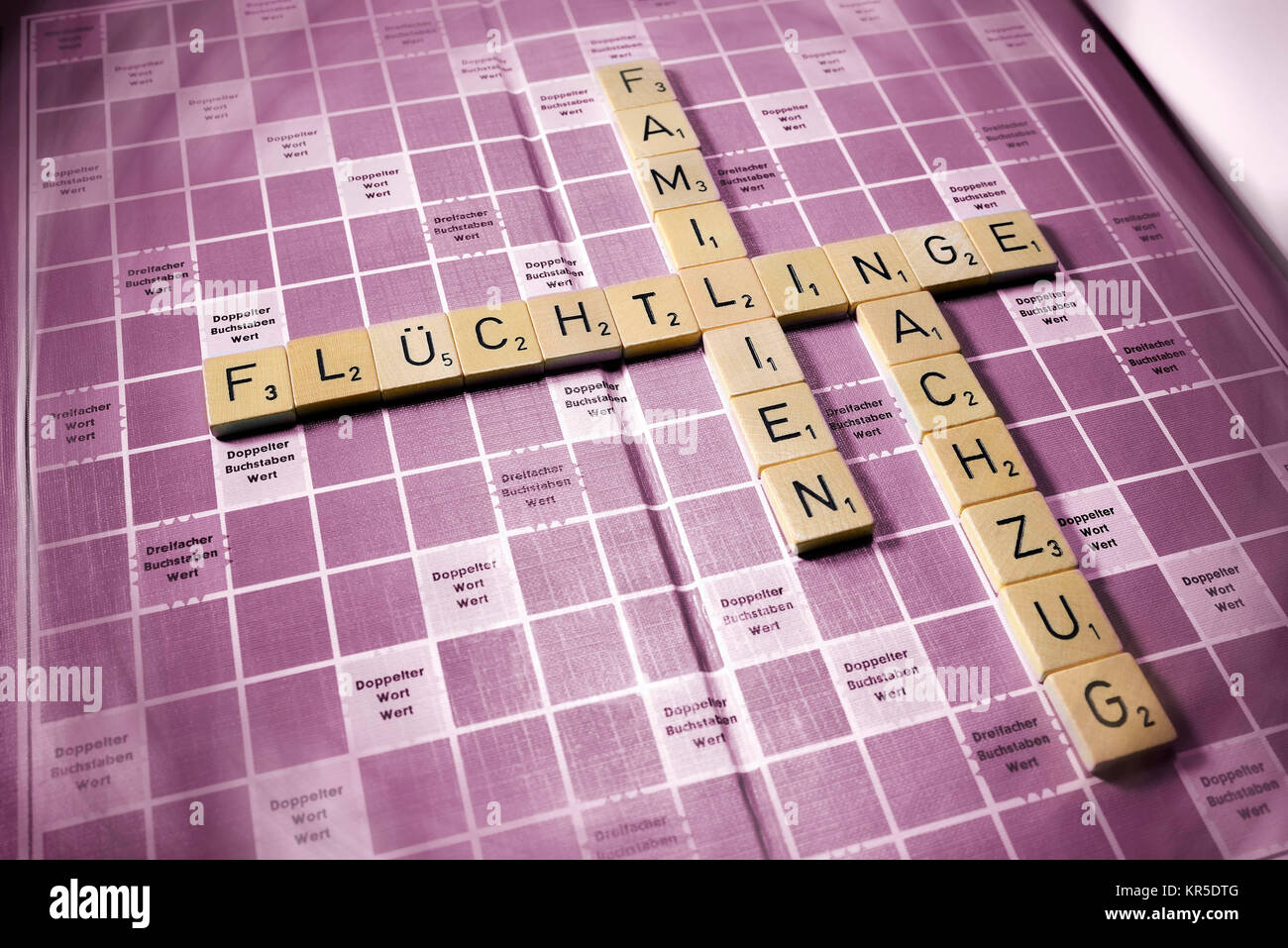 Letters form the words Refugees, Families and Relief train, Symbolic photo migration and family relief train, Buchstaben - Stock Image