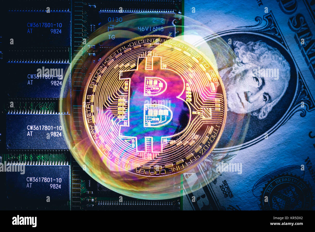 Coin with Bitcoin sign, dollar mark and soap bubble, soap bubble Bitcoin, Münze mit Bitcoin-Zeichen, Dollarnote Stock Photo