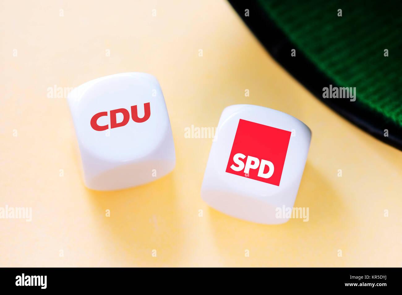 Cube with the logo of CDU and SPD, symbolic photo for the grand coalition, Würfel mit dem Logo von CDU und - Stock Image