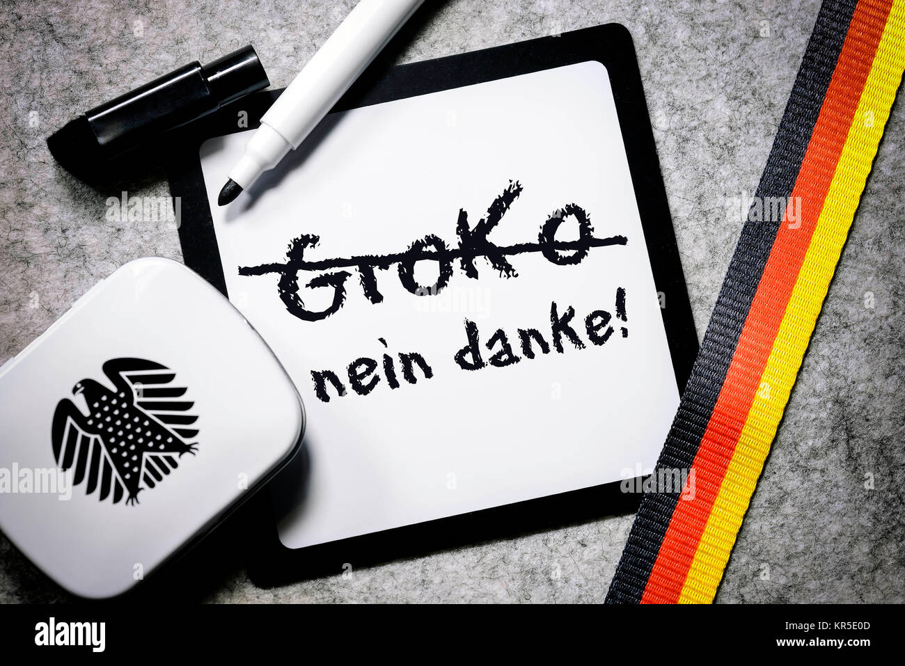 Writing board with the label Groko and no thanks, opposition against the grand coalition, Schreibtafel mit der Aufschrift Stock Photo