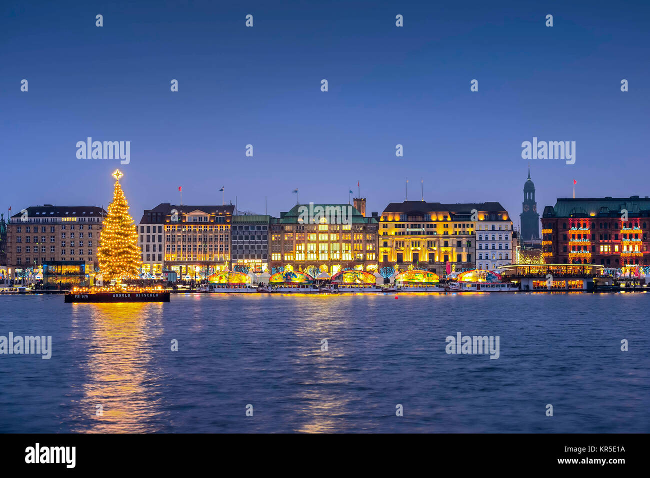 Alster fir to the christmas time on the Inner Alster in Hamburg, Germany, Europe, Alstertanne zur Weihnachtszeit - Stock Image