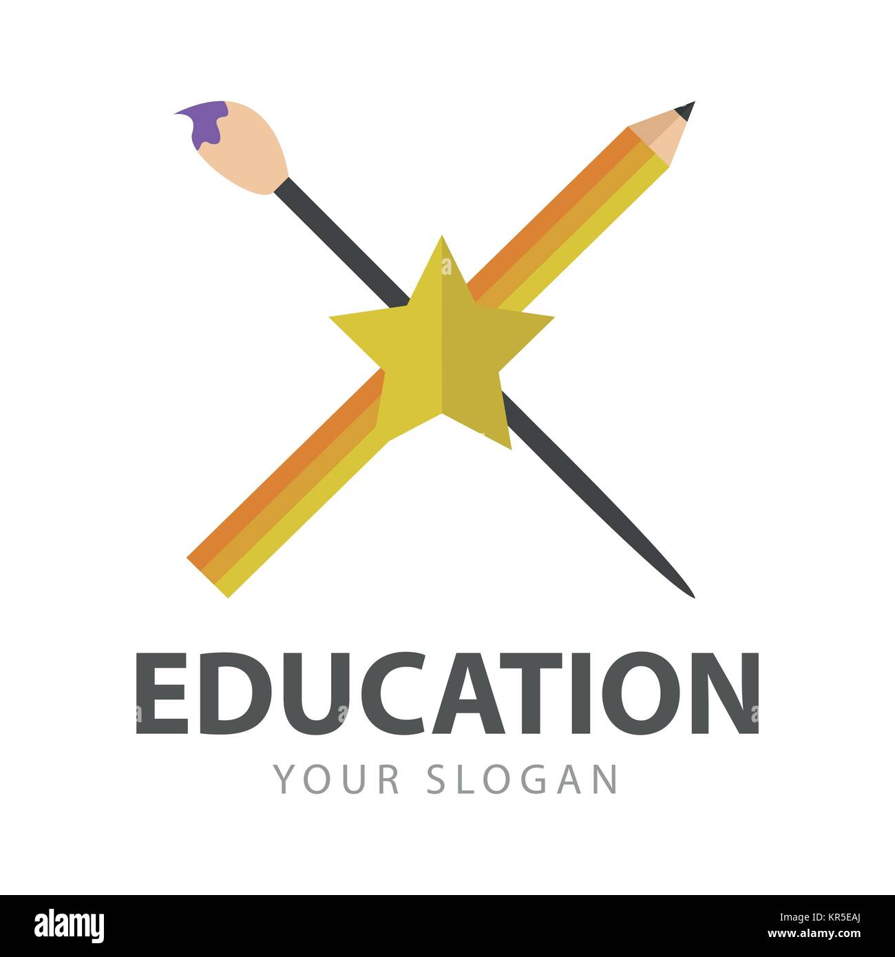 Education Art School Logo Vector Illustration Graphic Design - Stock Image