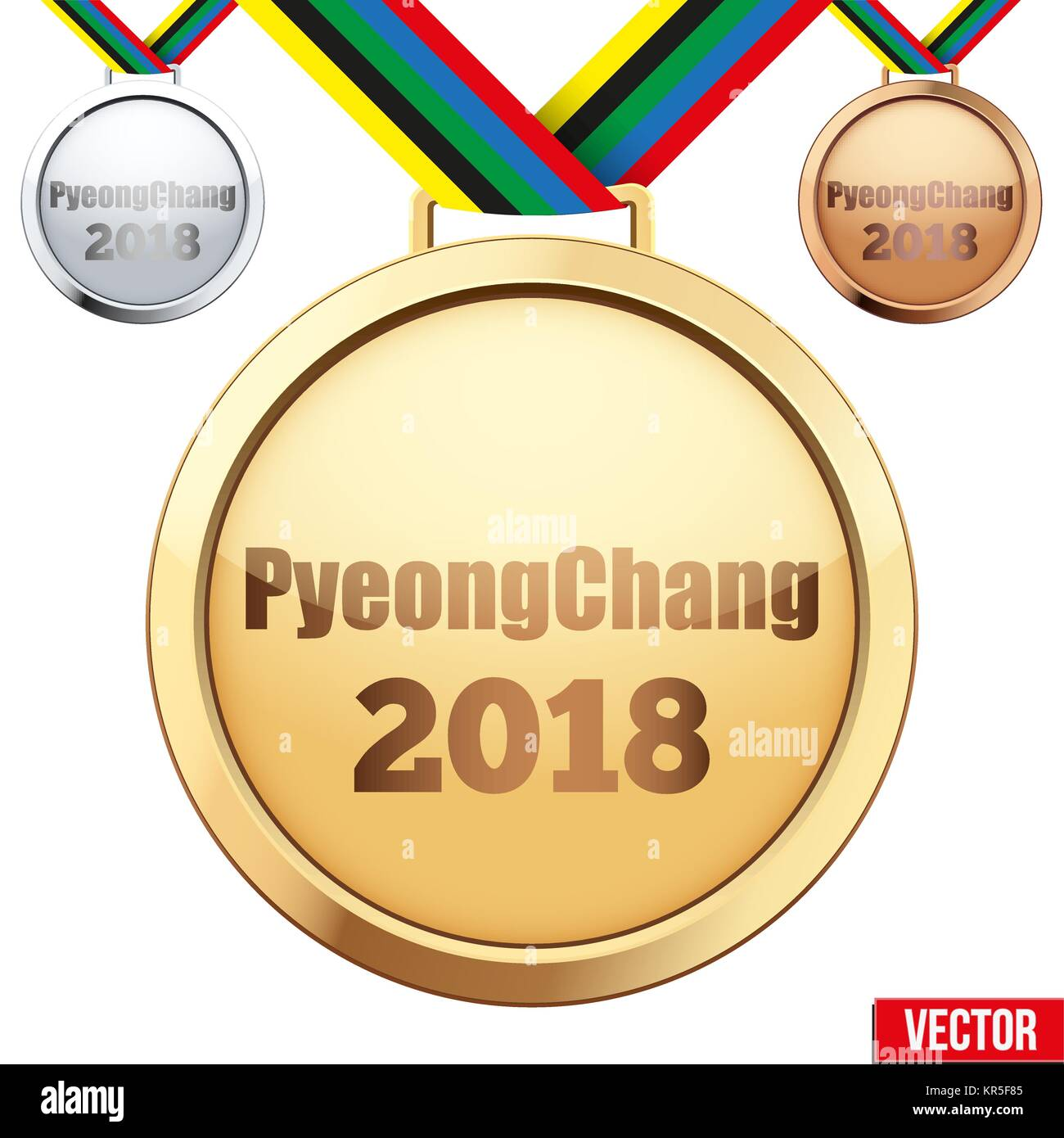Set of medals with text PyeongChang 2018 - Stock Vector