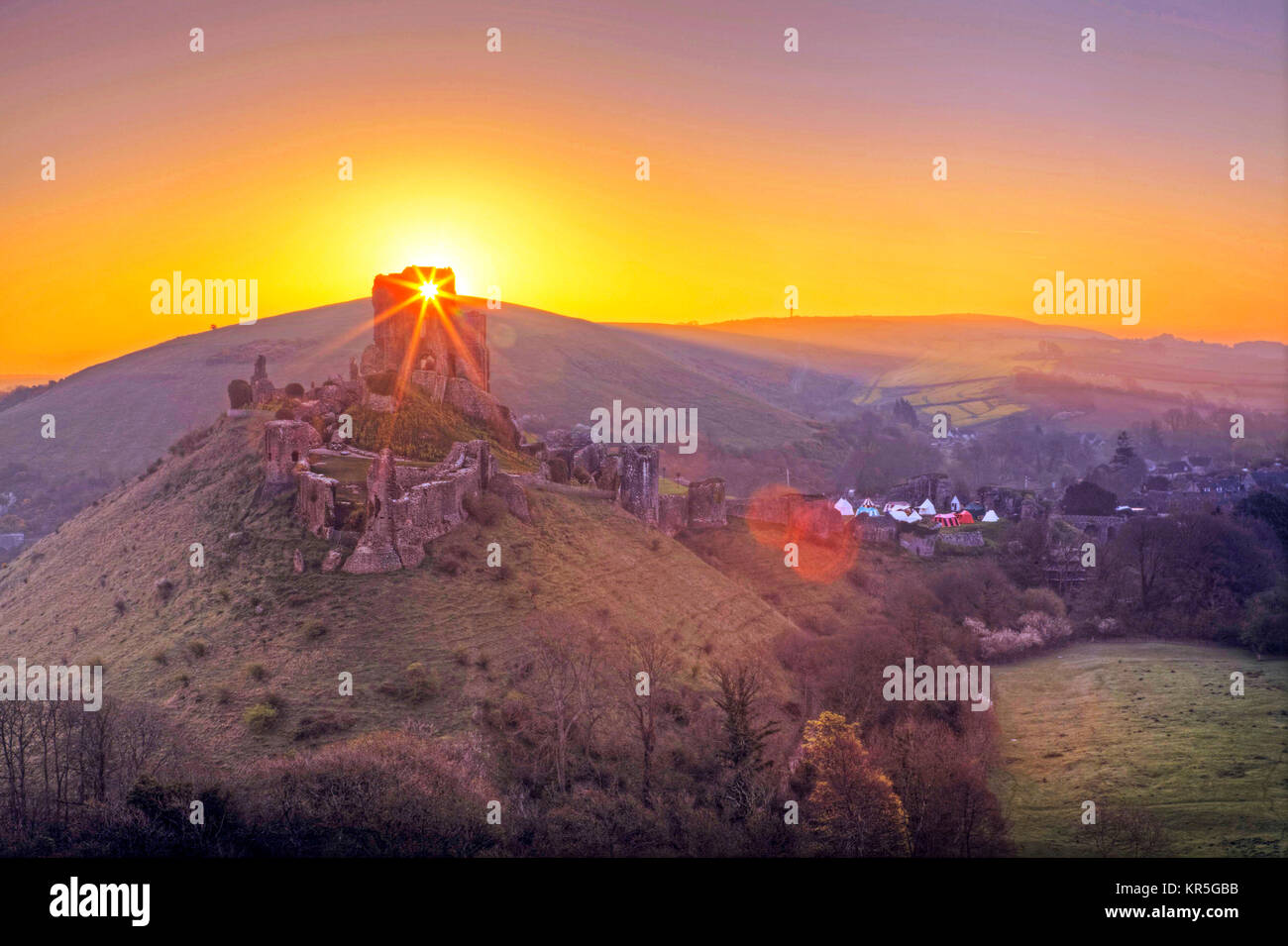 Corfe Castle - Stock Image