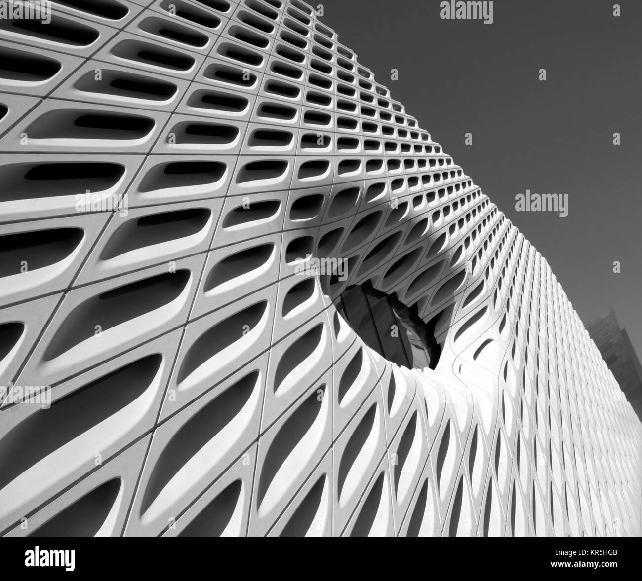 Window detail of The Broad Museum building exterior on South Grand Avenue in downtown Los Angeles, LA California - Stock Image