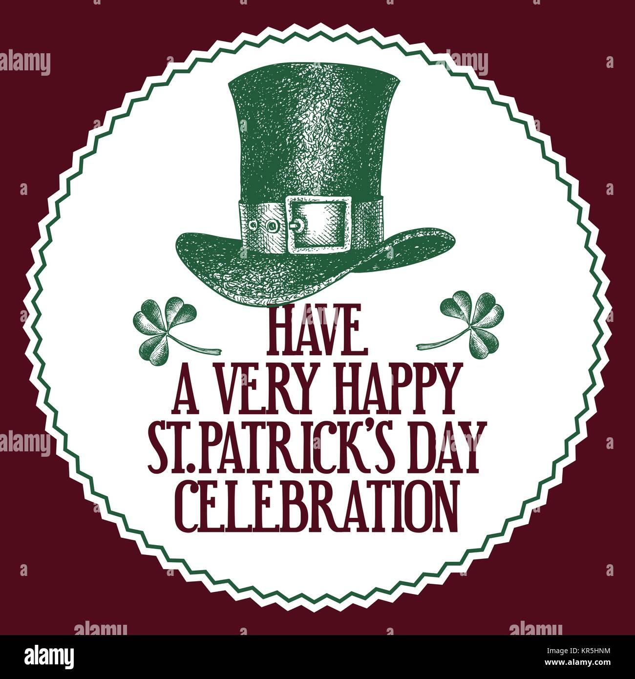 da2e8144 Hand drawn vector St. Patrick's Day greeting card with leprechaun hat. Irish  retro illustration.