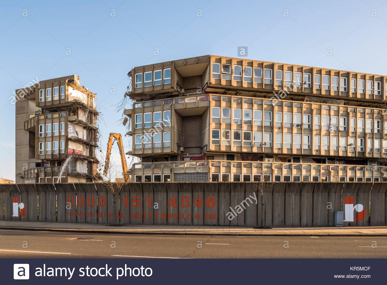 Robin Hood Gardens in Poplar, London in the process of demolition to ...