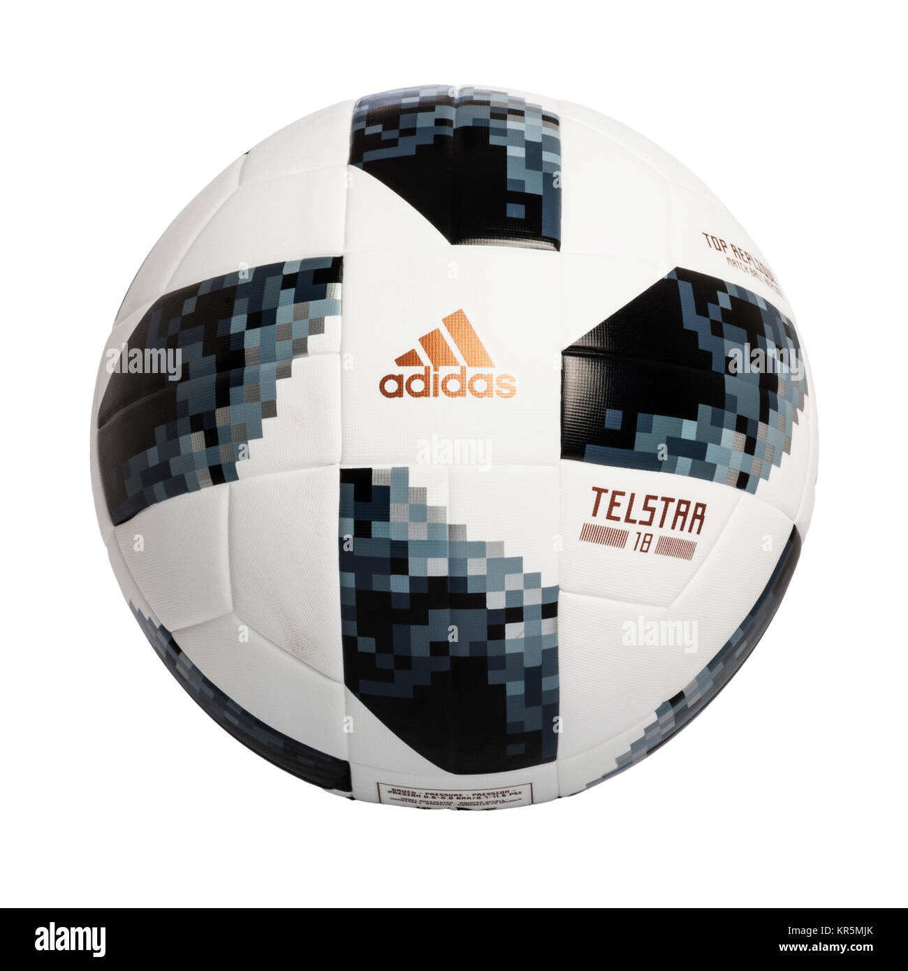 The adidas Telstar 2018 world cup replica  football on a white background - Stock Image