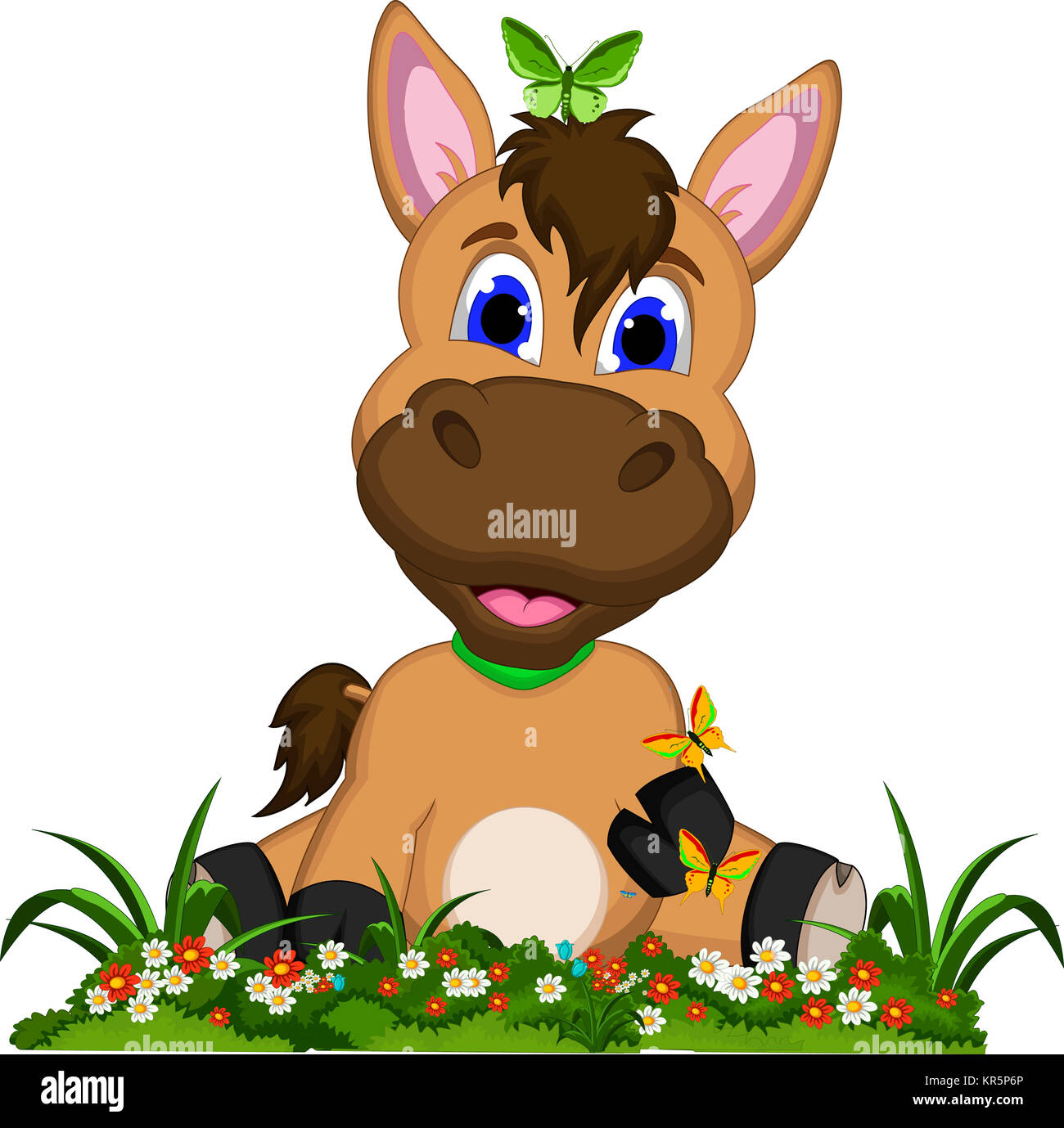 Funny Horse Cartoon With Flower Garden Stock Photo Alamy
