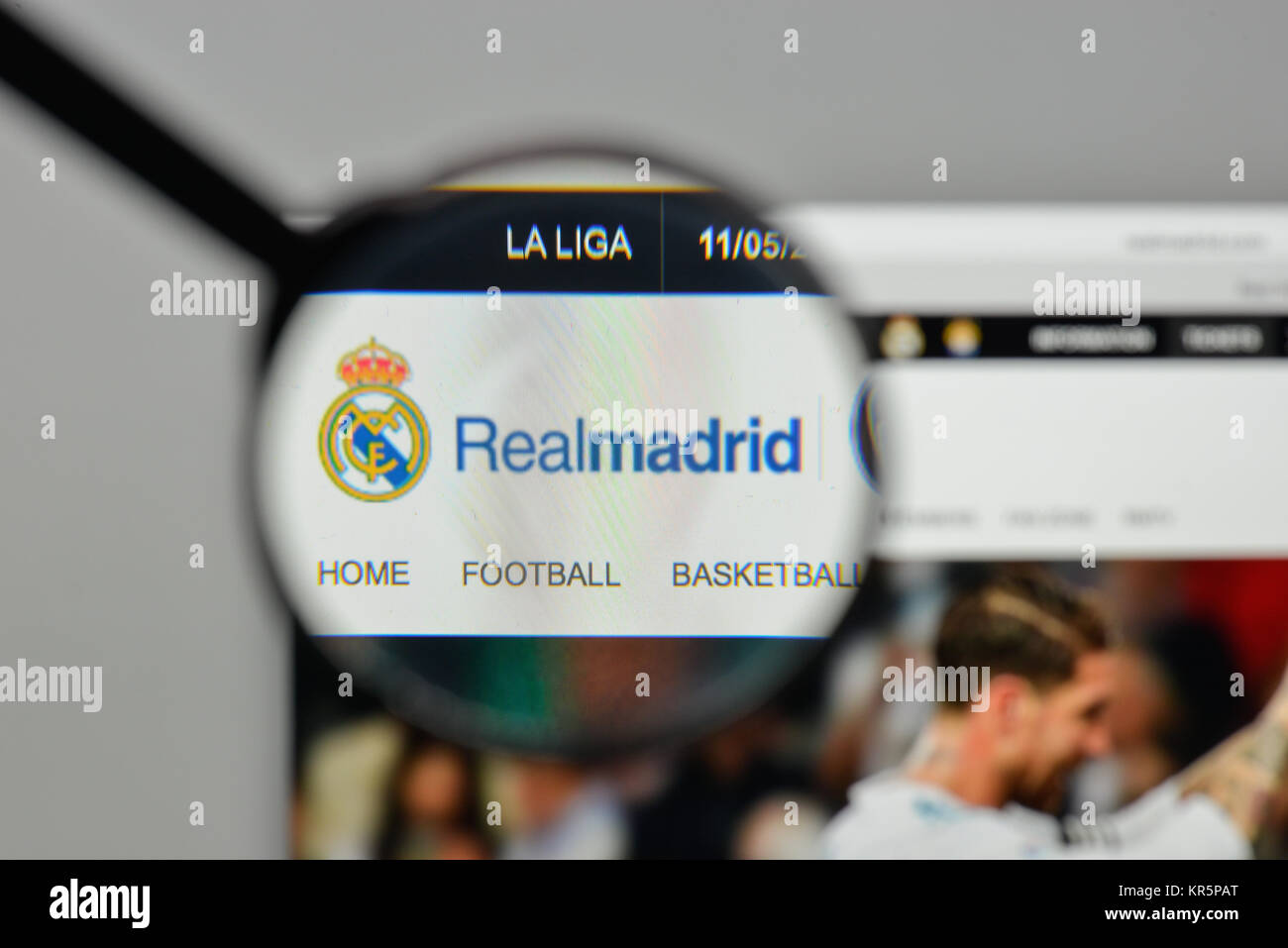 Milan, Italy - November 1, 2017: Real Madrid CF logo on the website homepage. - Stock Image