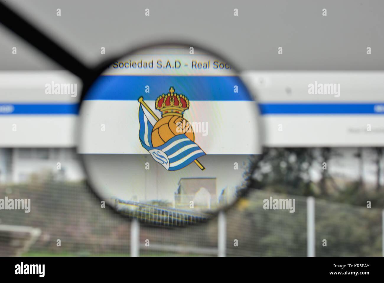 Milan, Italy - November 1, 2017: Real Sociedad logo on the website homepage. - Stock Image
