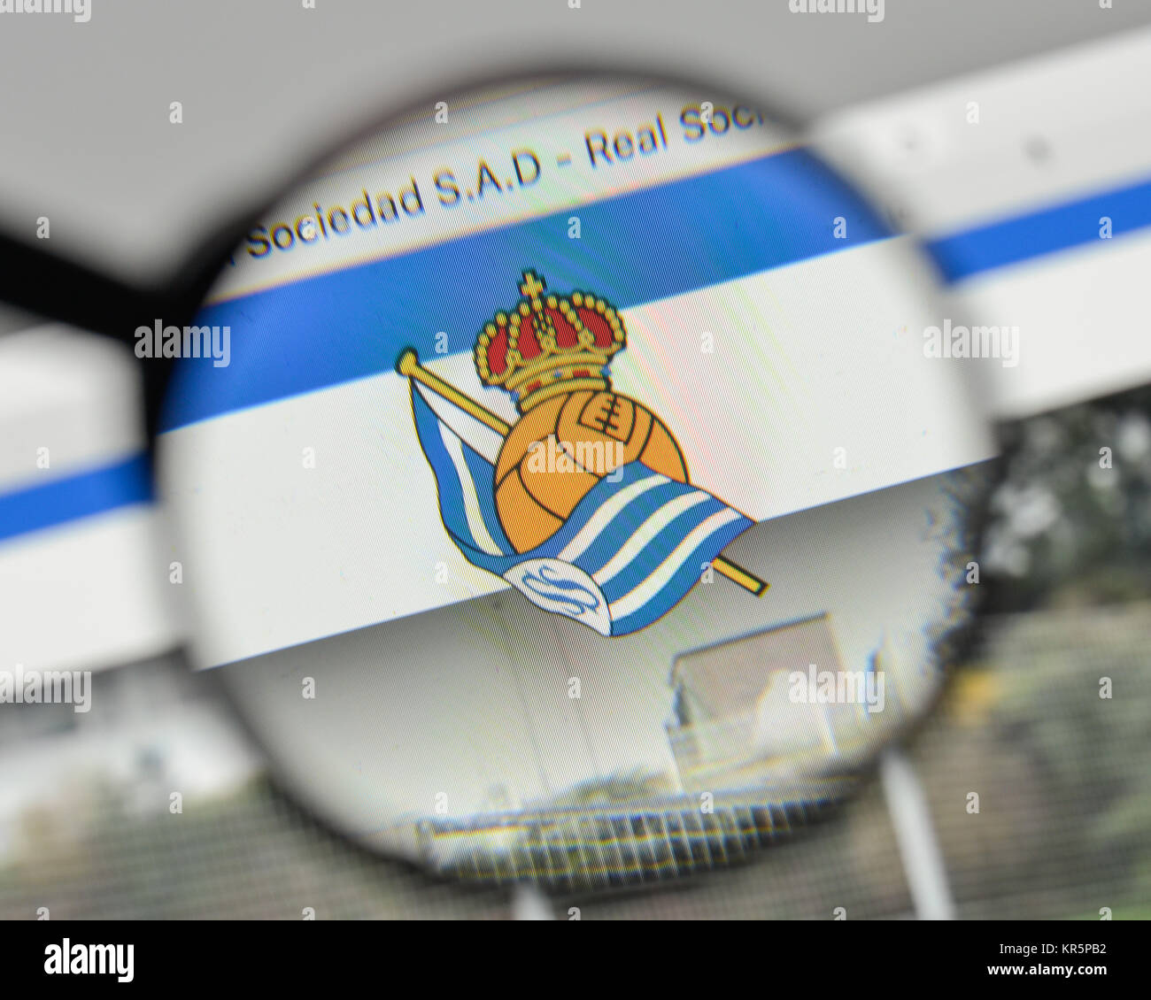 Milan, Italy - November 1, 2017: Real Sociedad logo on the website homepage. - Stock Image