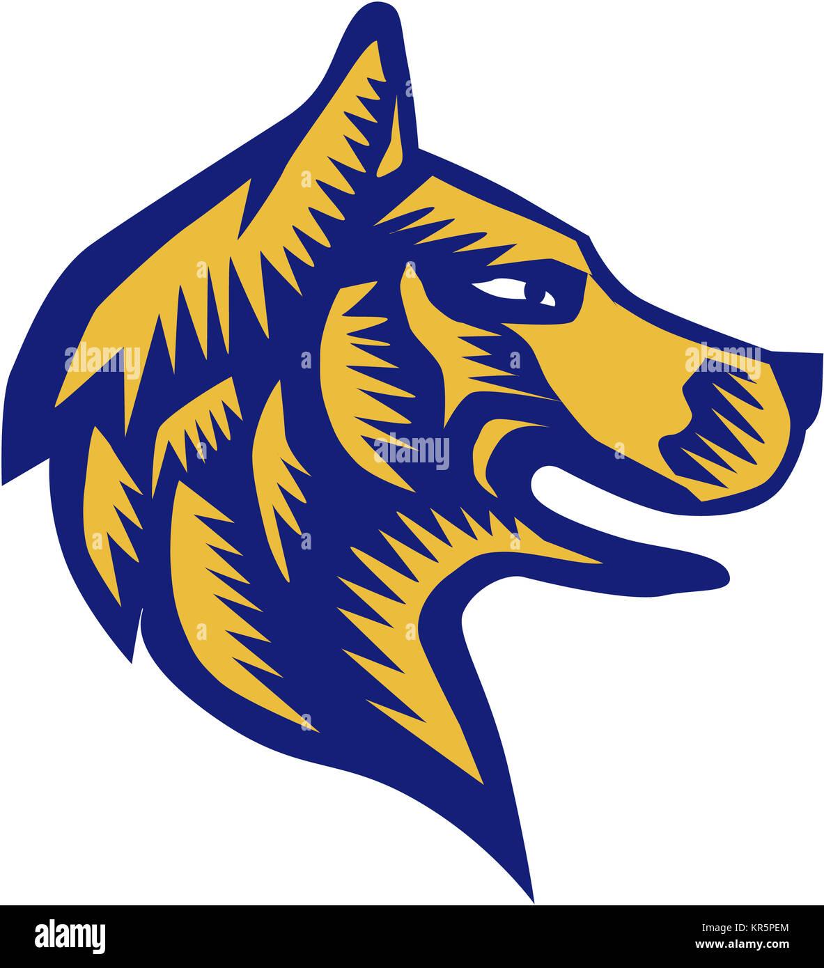 Husky Dog Head Woodcut - Stock Image