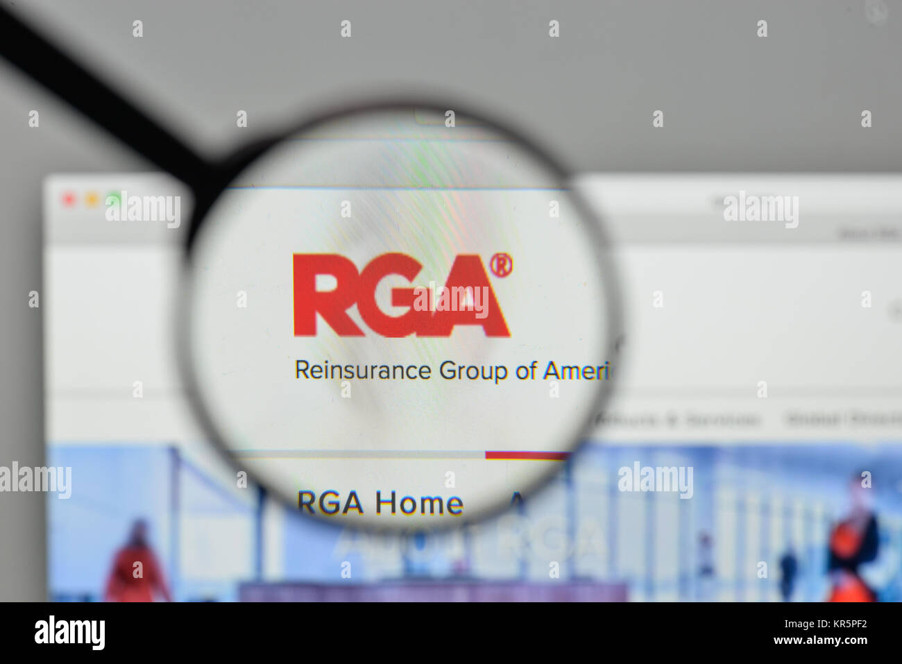 Milan, Italy - November 1, 2017: ReInsurance Group of America logo on the website homepage. - Stock Image