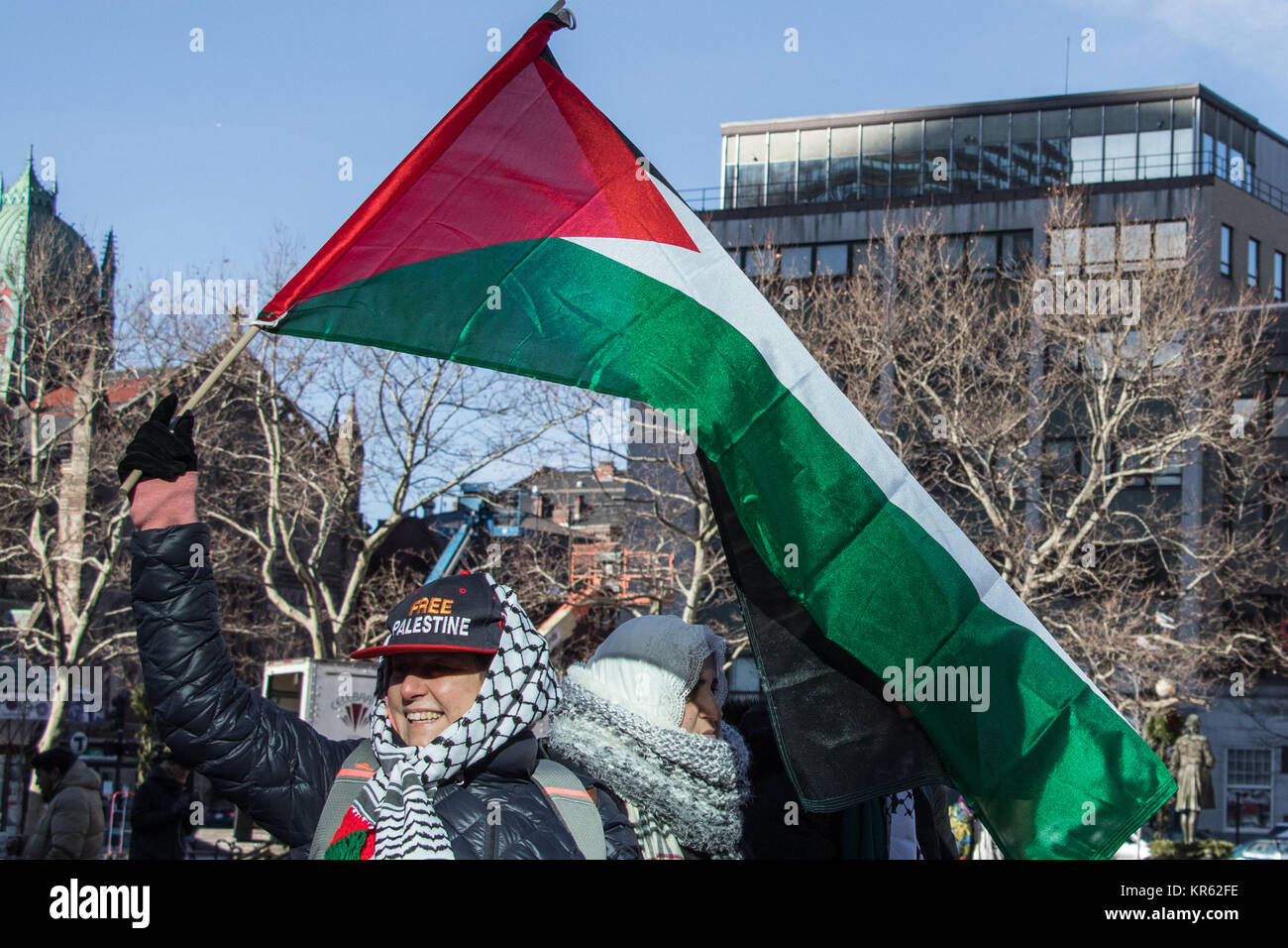 December 17, 2018, Boston (Massachusetts). Peace activists protest against President Trump's recognition of - Stock Image