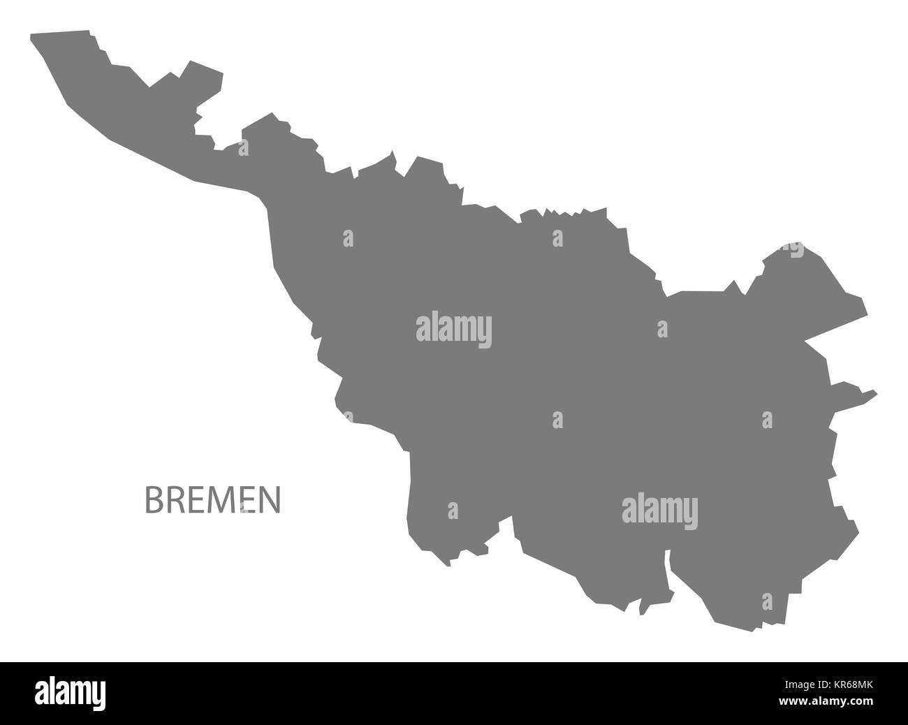 bremen germany map grey