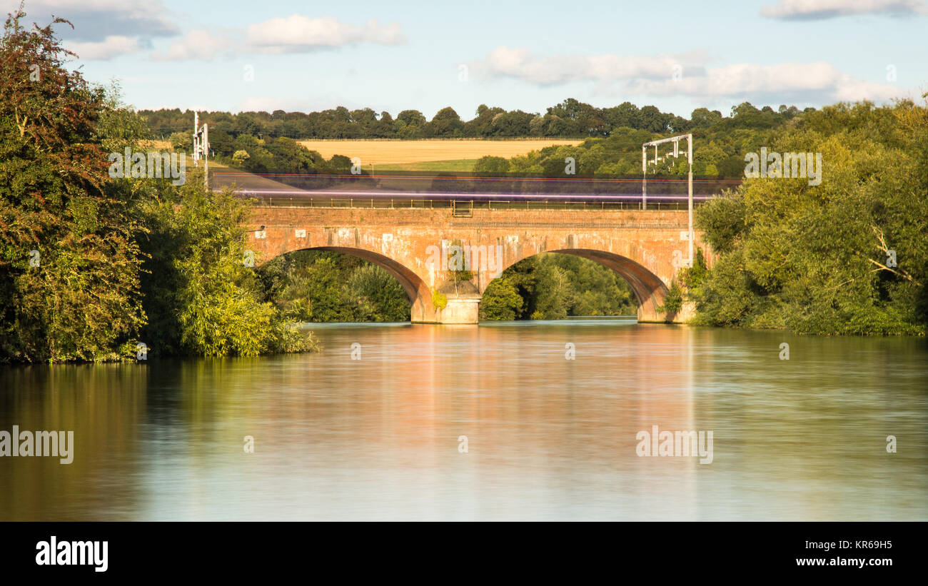 Reading, England, UK - August 29, 2016: A First Great Western Intercity 125 express train at Goring Gap in Berkshire, - Stock Image