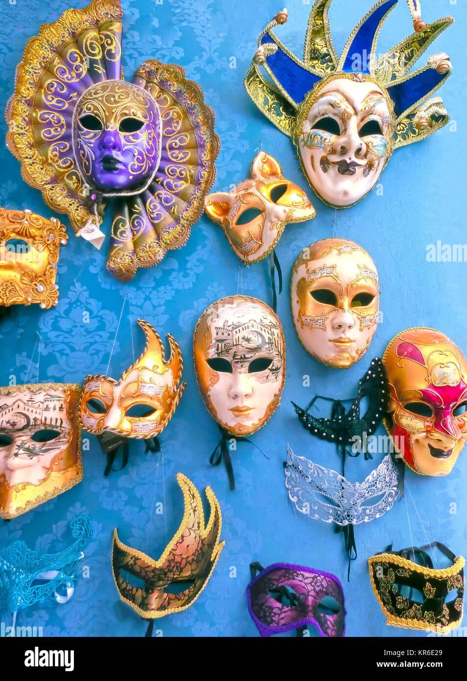Venice, Italy - May 10, 2014: Venetian carnival masks, souvenir shop on a street - Stock Image