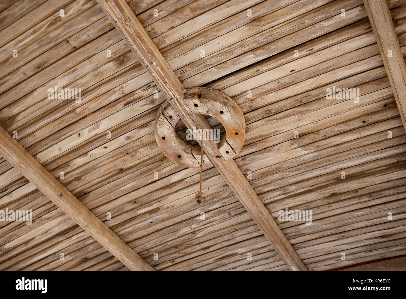 Old wooden ceiling timbers - patterns - Stock Image