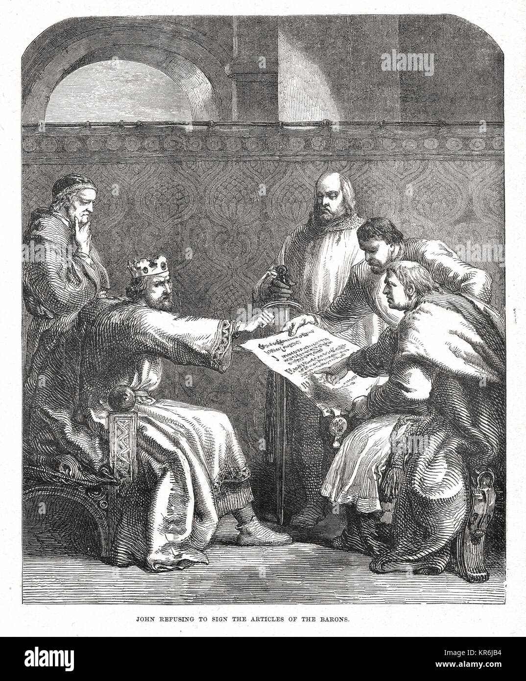King John refusing to sign the articles of the Barons, Easter 1215, Oxford - Stock Image