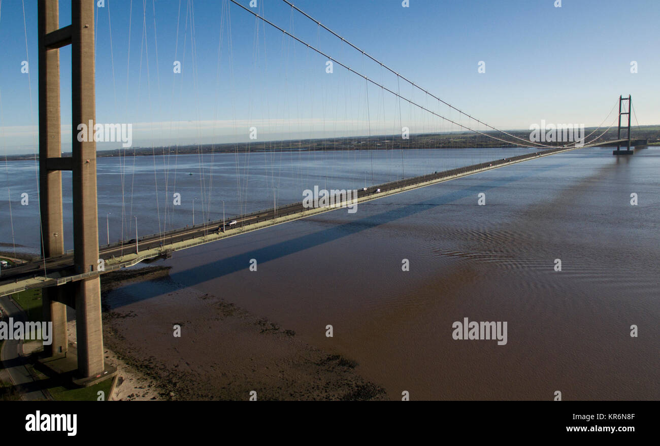 Humber bridge, single span suspension bridge over the river humber, Yorkshire - Stock Image