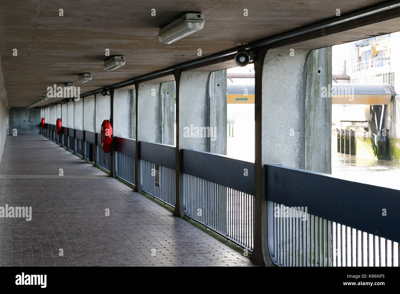 Thames Barrier passageway in London, part of the Thames Path national trail - Stock Image