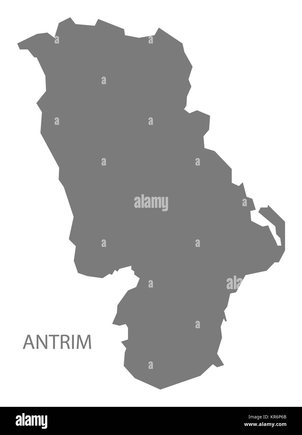 Antrim Northern Ireland Map grey - Stock Image