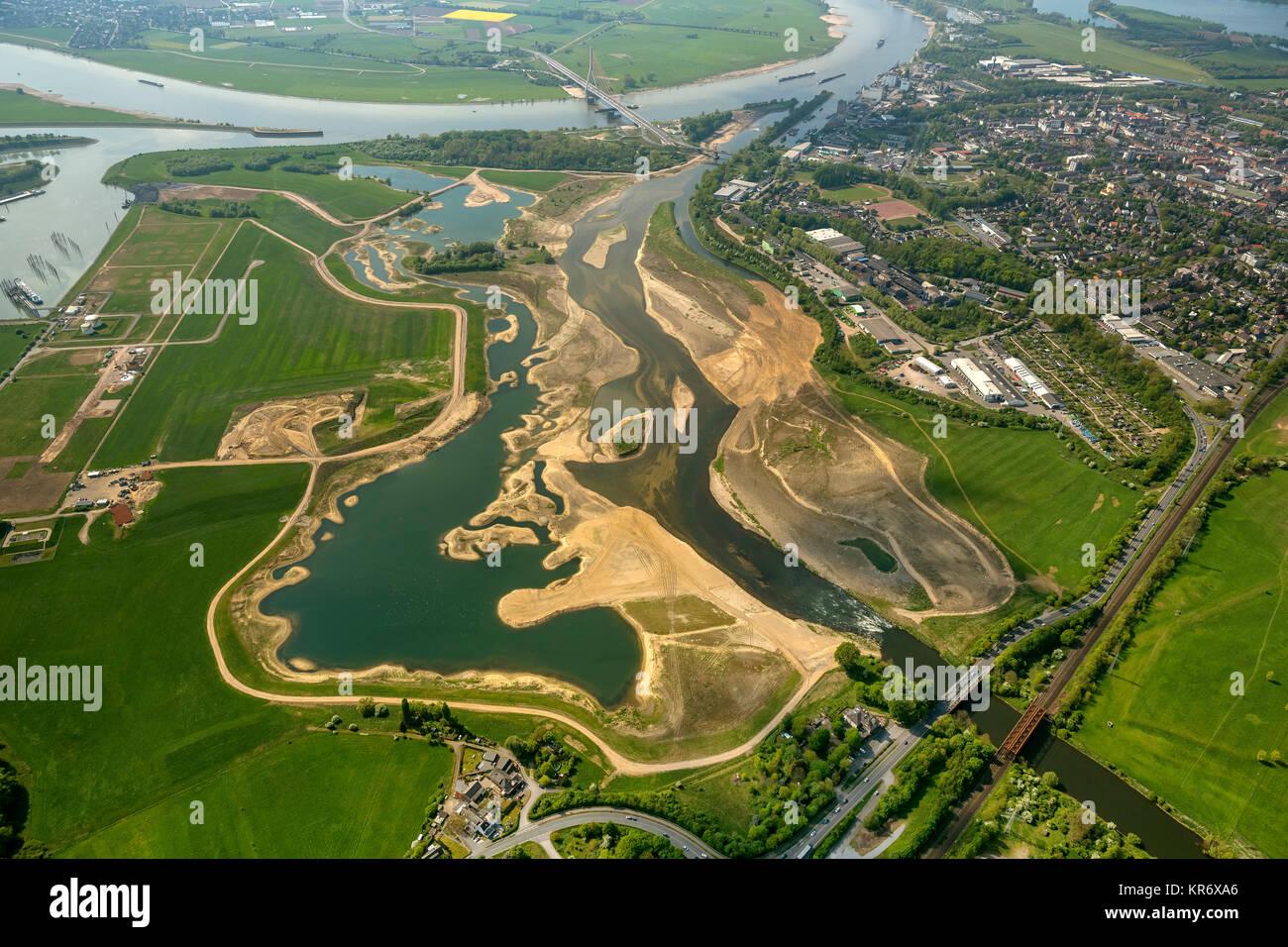 Umbau der Lippemündung durch den Lippeverband,  Rheinhafen Wesel, Sandbänke, Sandbank, Renaturierung, - Stock Image