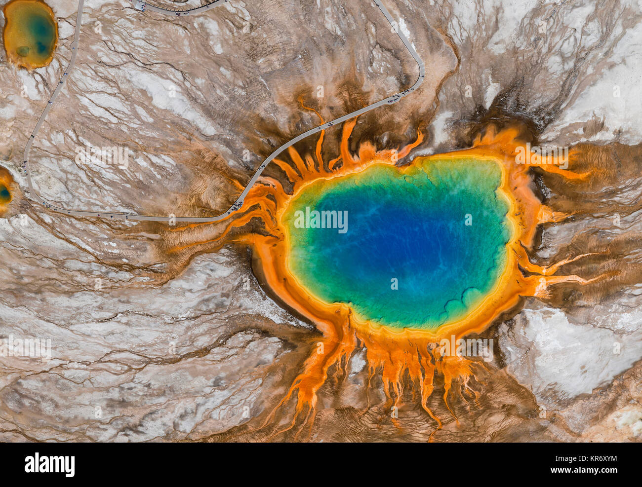 Aerial view of Grand Prismatic Spring, Midway Geyser Basin, Yellowstone National Park, Wyoming, USA. - Stock Image