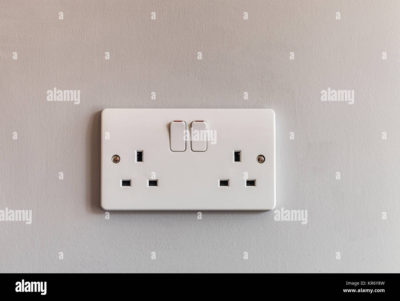Double Socket Stock Photos Images Alamy Electrical Diagram Uk Domestic 3 Pin Plug In White Plastic On A Beige Coloured Wall