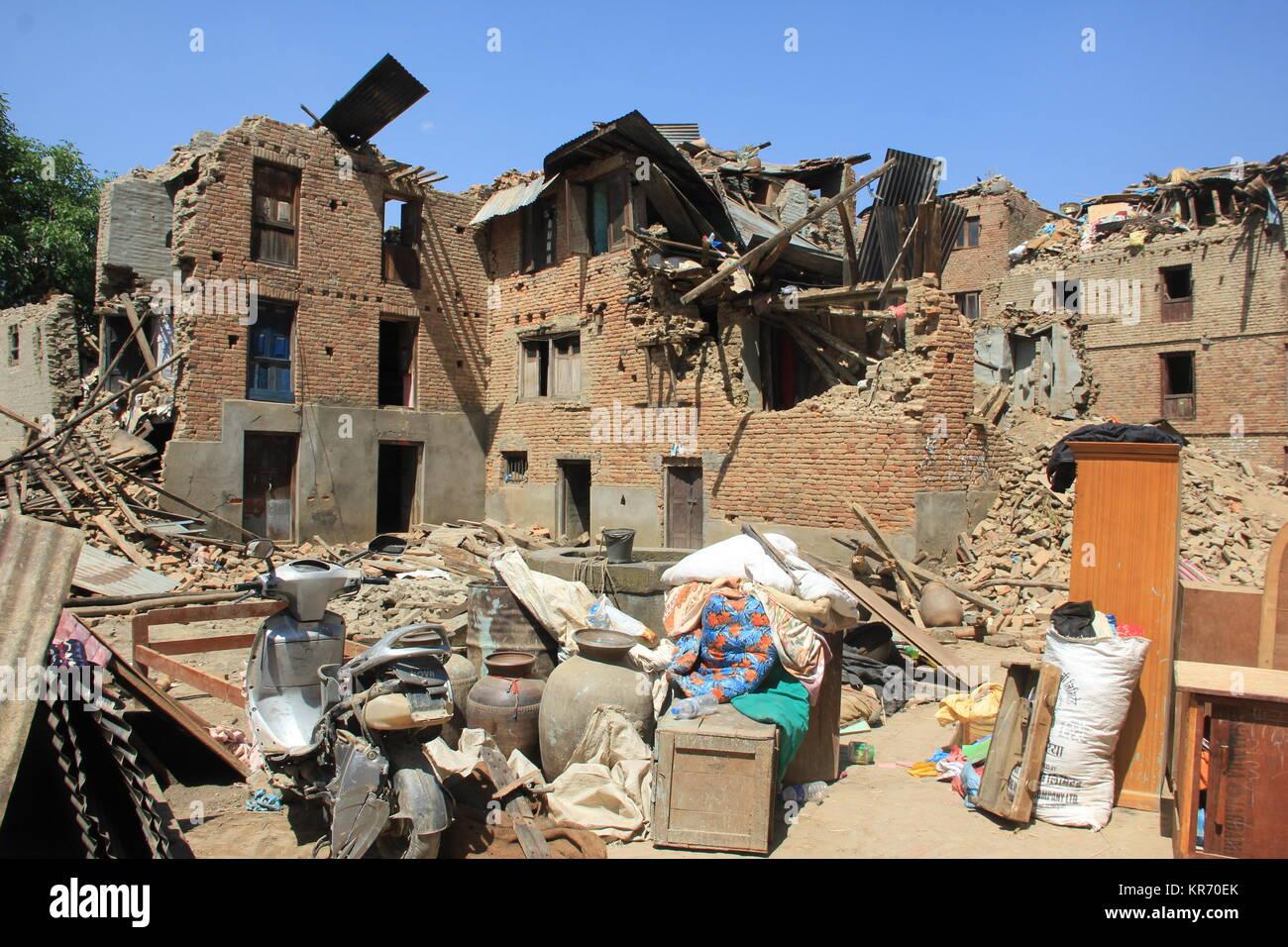 2015 Earthquake damaged village at Sankhu, Kathmandu. Stock Photo