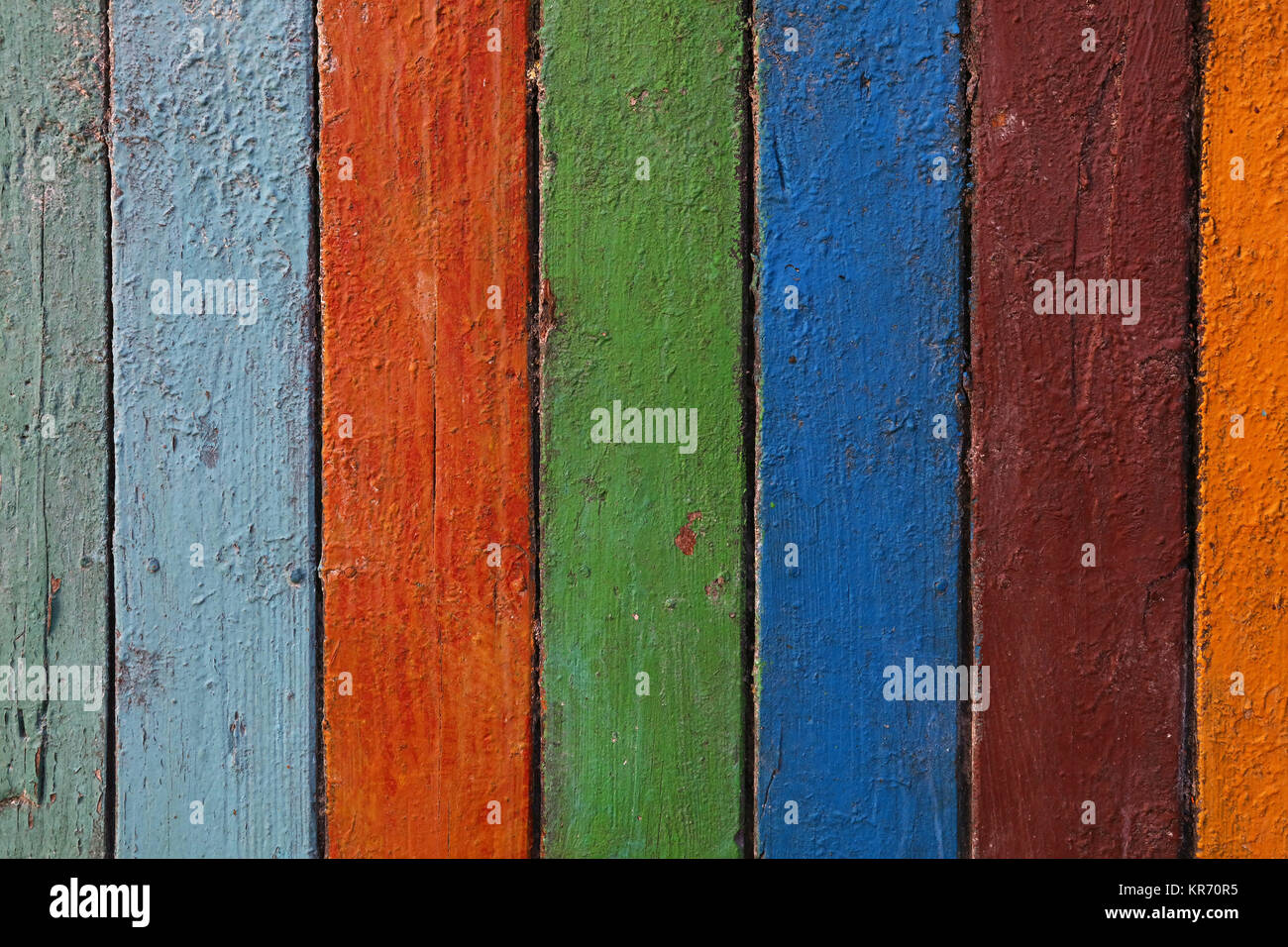 Multicolor painted old grunge wooden planks Stock Photo
