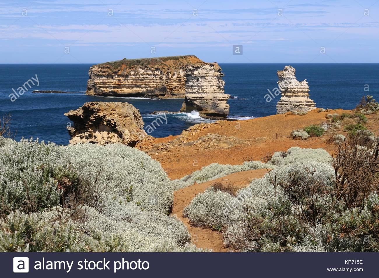 Rock islands  in the Bay of Martyrs at the Great Ocean Road, Victoria, Australia - Stock Image