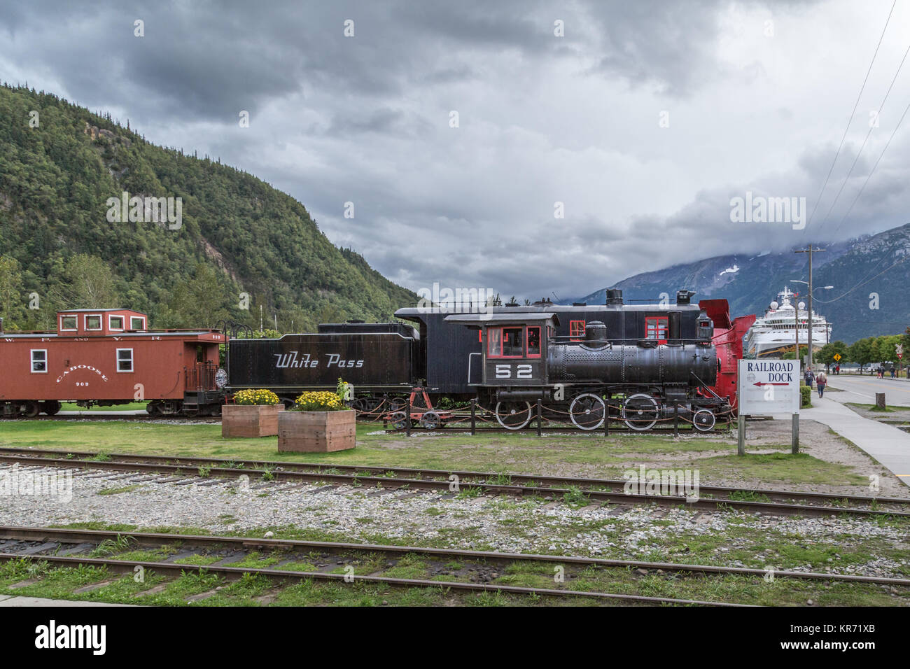 The White Pass and Yukon Route Railway is a Canadian and U.S. railroad linking the port of Skagway, Alaska, with - Stock Image