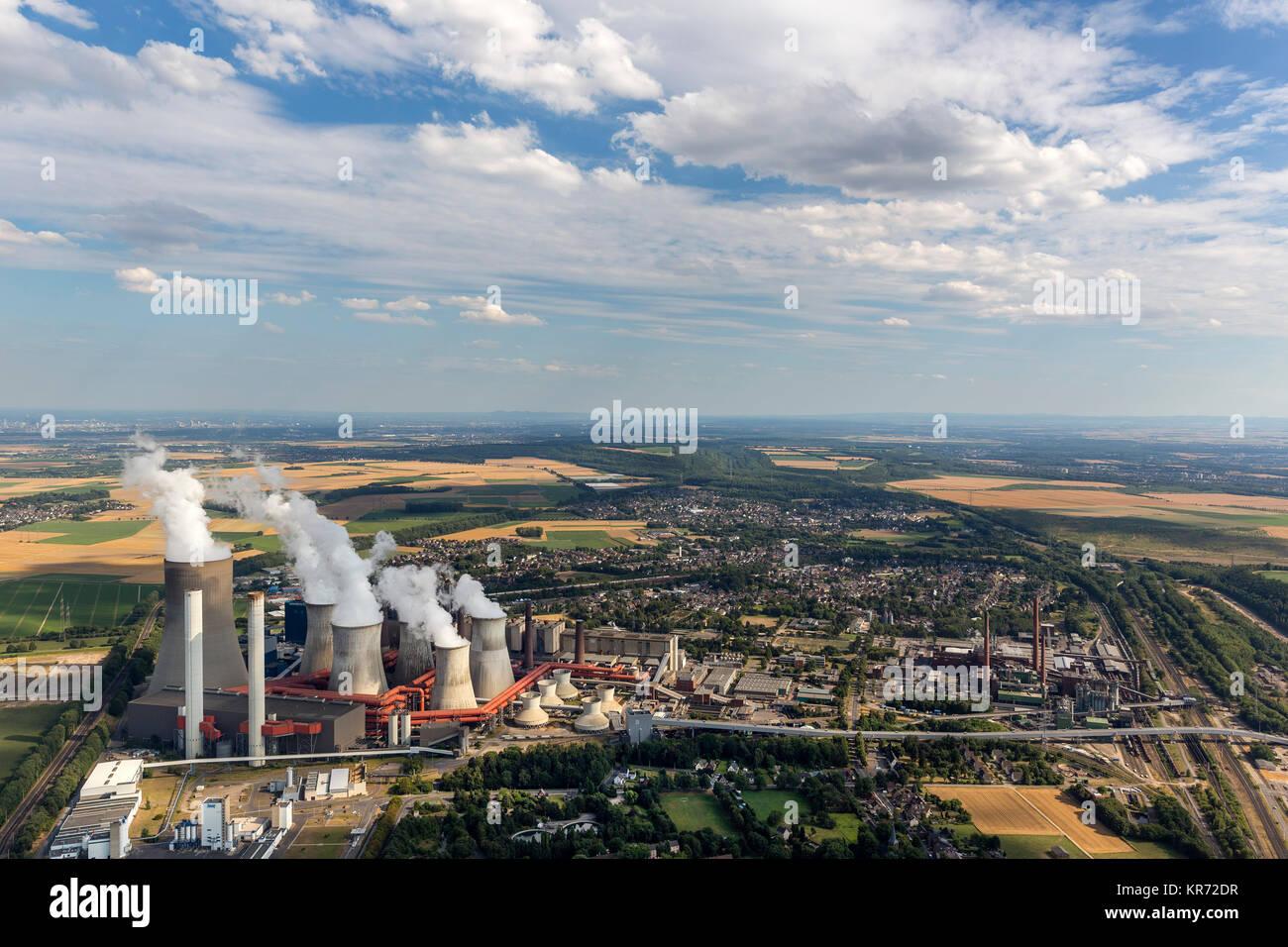 Kraftwerk Niederaussem, RWE Power, power generation, brown coal power station, base load power station chimneys, - Stock Image