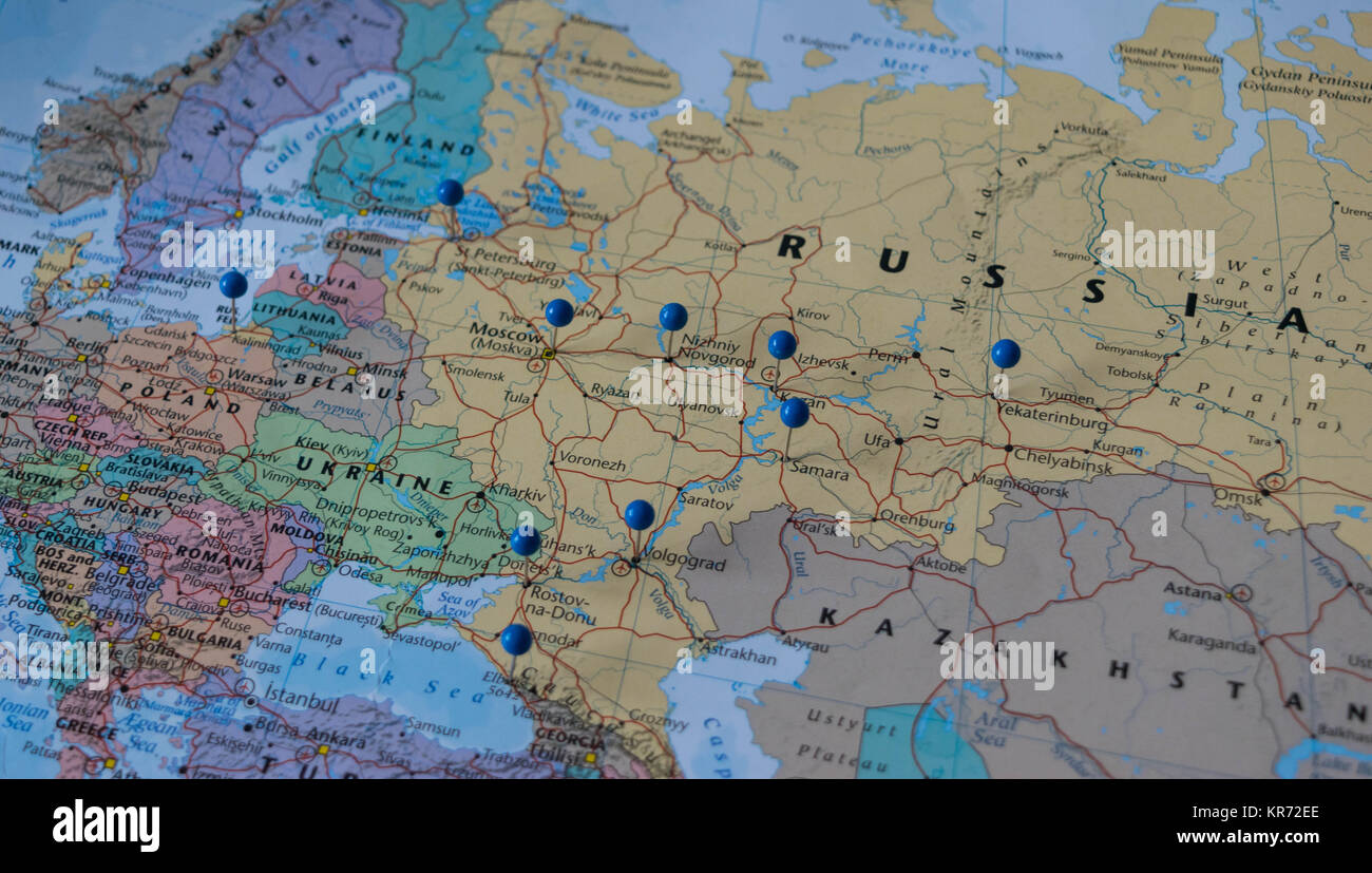 Moscow map stock photos moscow map stock images alamy moscow pinned with other world cup venue cities in a closeup map for football world cup gumiabroncs Images