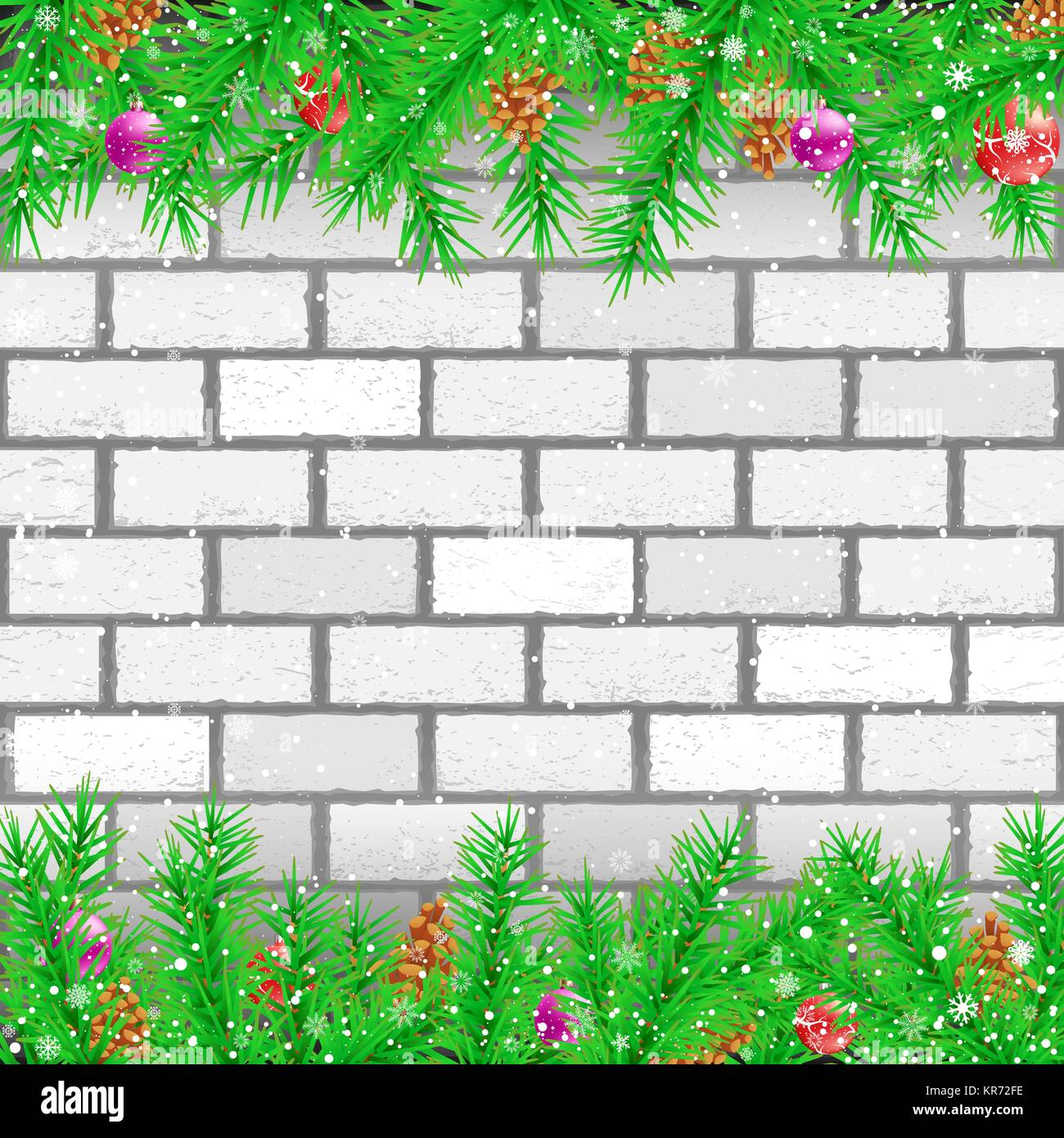 Spruce branch white brick wall - Stock Vector