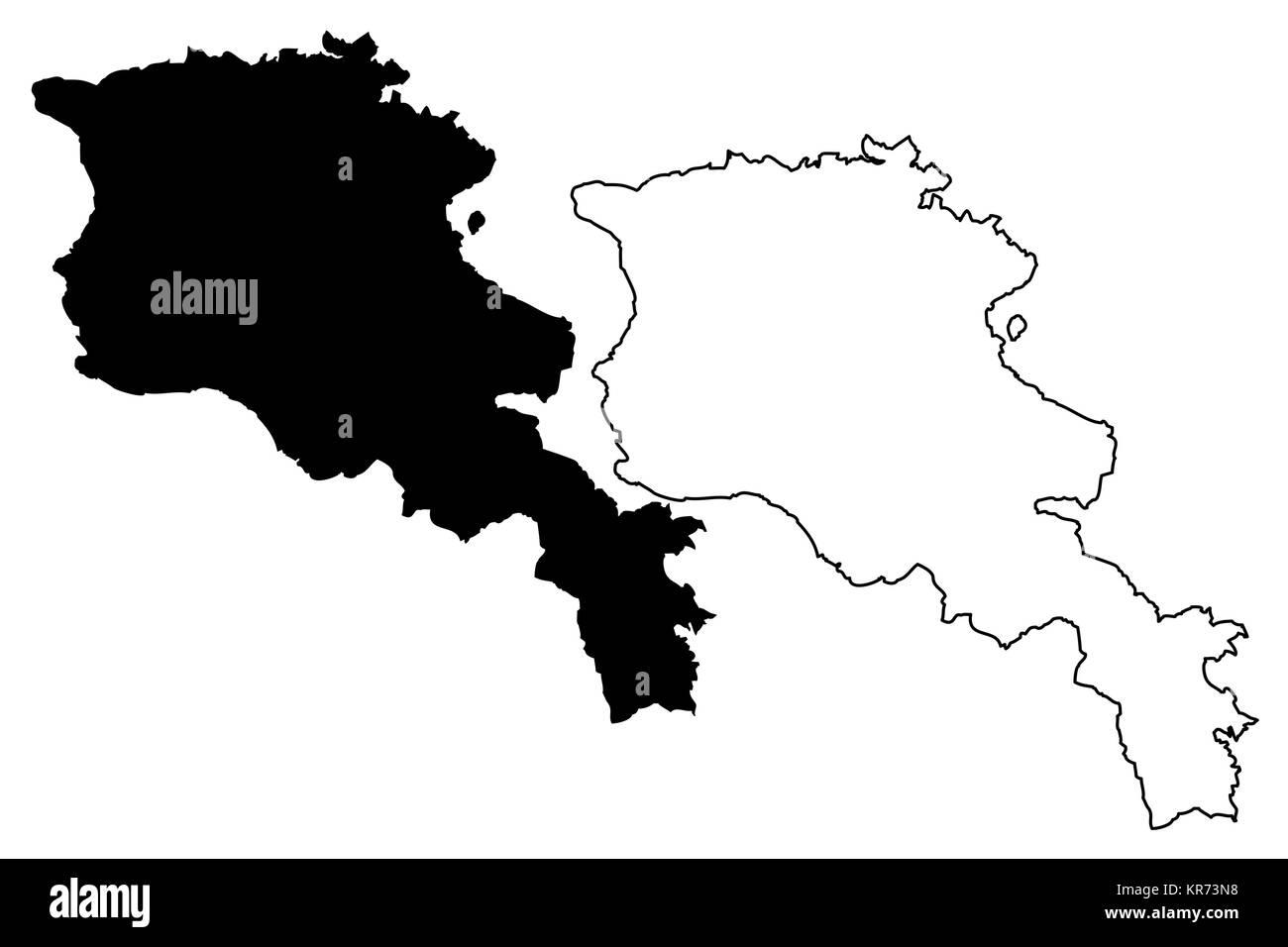 Armenia map vector illustration, scribble sketch Republic of Armenia - Stock Image