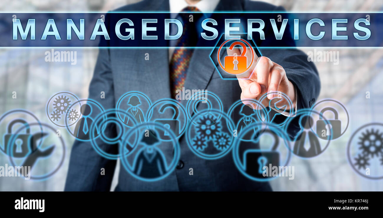 Corporate Manager Pushing MANAGED SERVICES - Stock Image