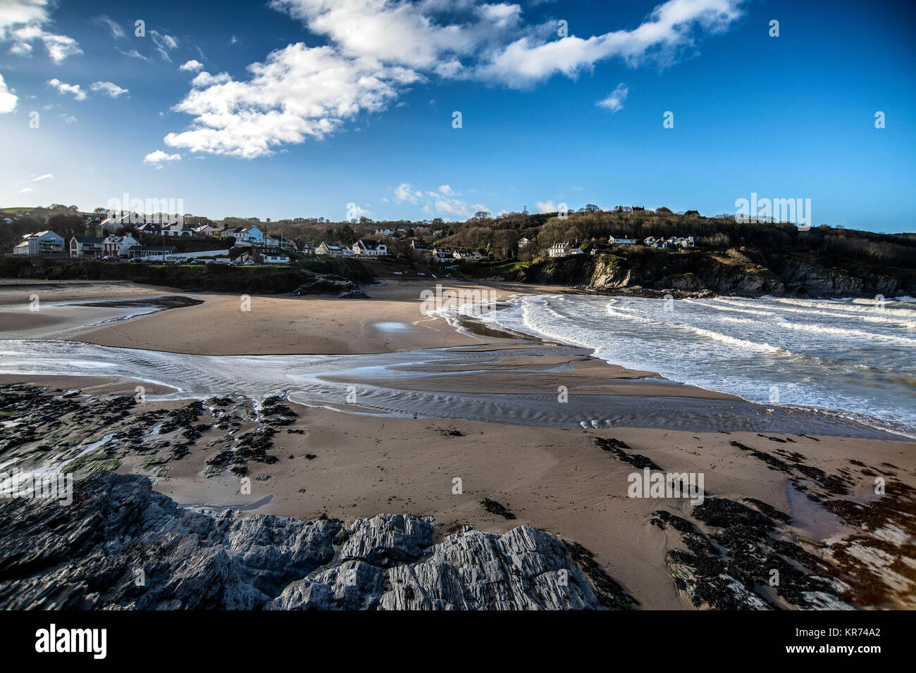 The village of Aberporth on the Cardiganshire coast, West Wales - Stock Image