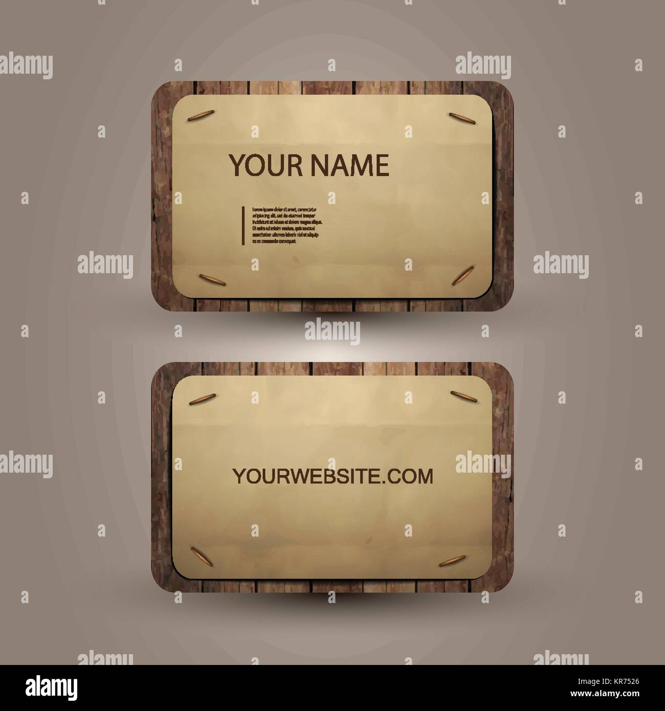 Abstract Brown Business Card Template Design with Wooden Background ...