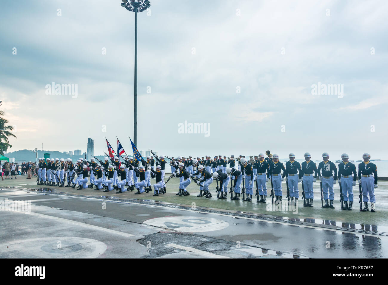 Pattaya, Thailand - November 15, 2017: Thai navy demonstrating Fancy Drill on the 50th anniversary ASEAN International - Stock Image