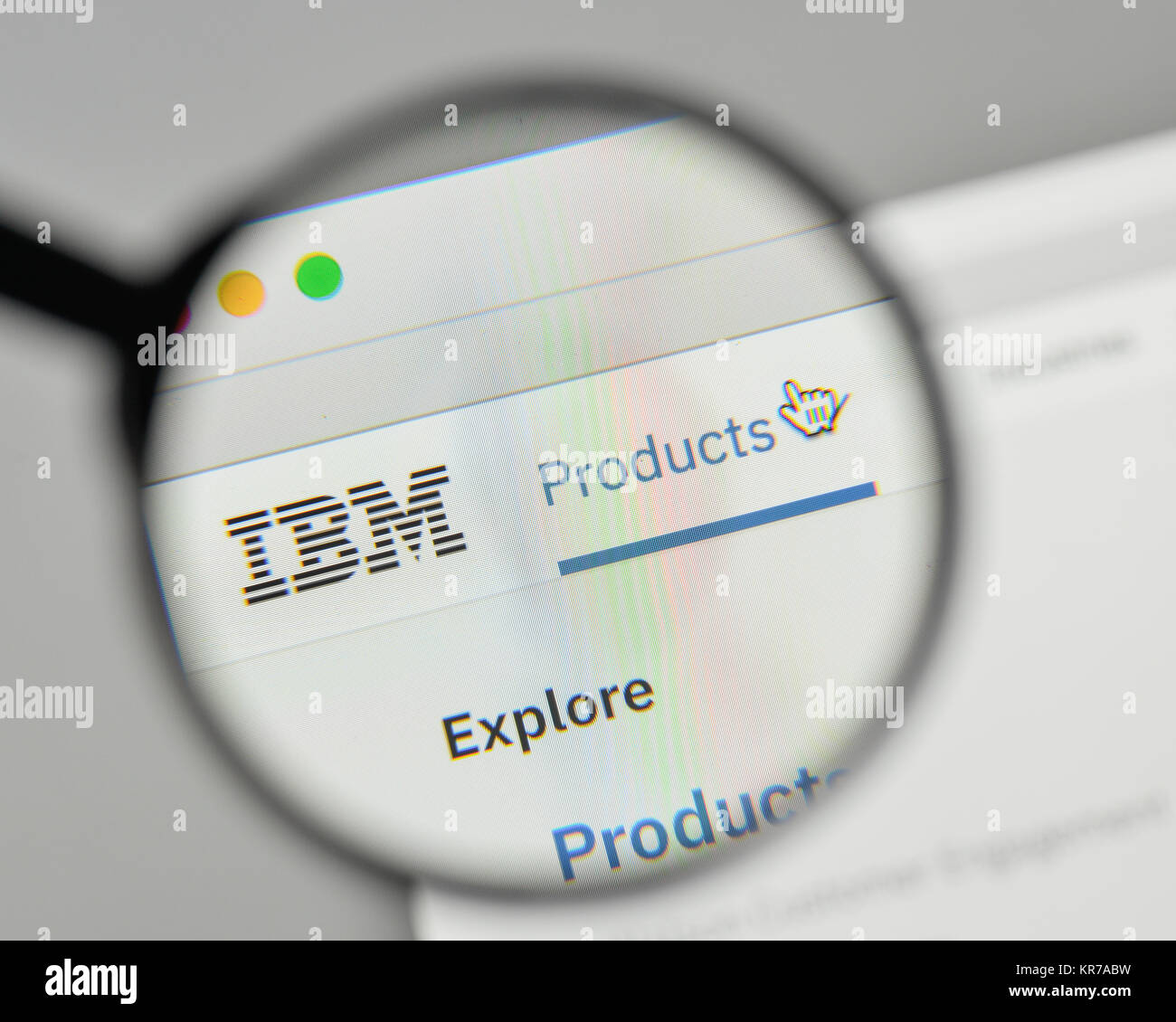 Milan, Italy - November 1, 2017: IBM logo on the website homepage. - Stock Image