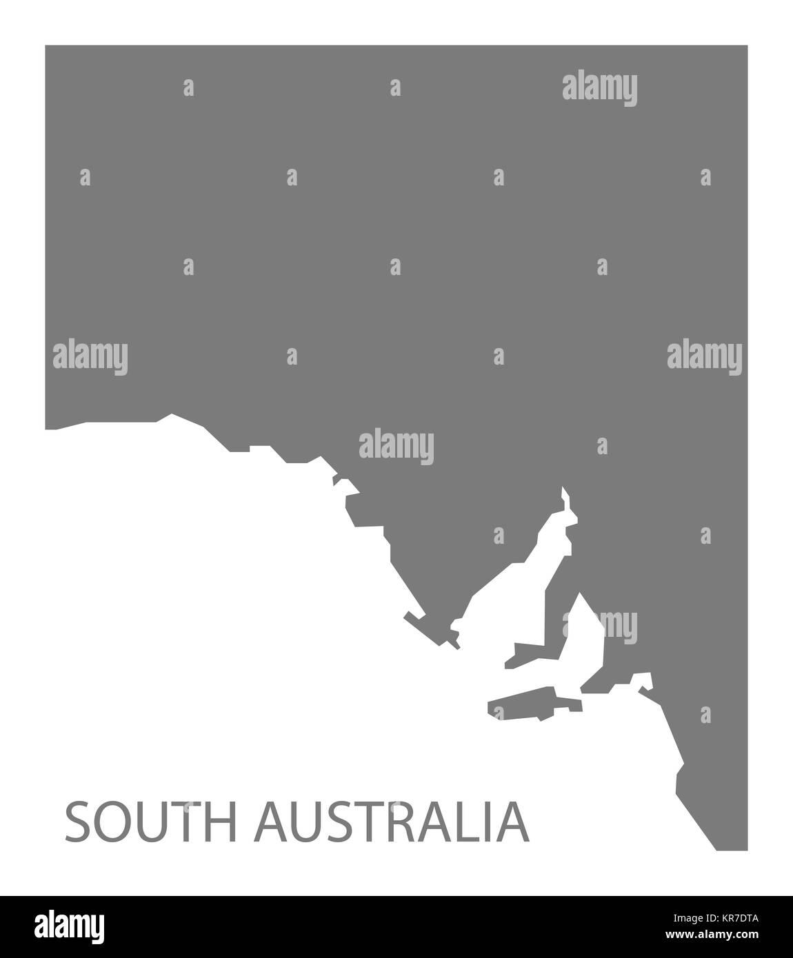 South Australia Map grey - Stock Image